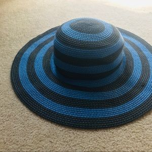 Forever 21 Black and Blue Striped Floppy Sun Hat
